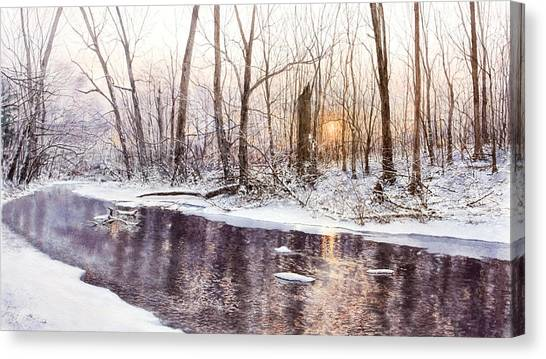 Morning On Monocacy Canvas Print by Steven J White PWS