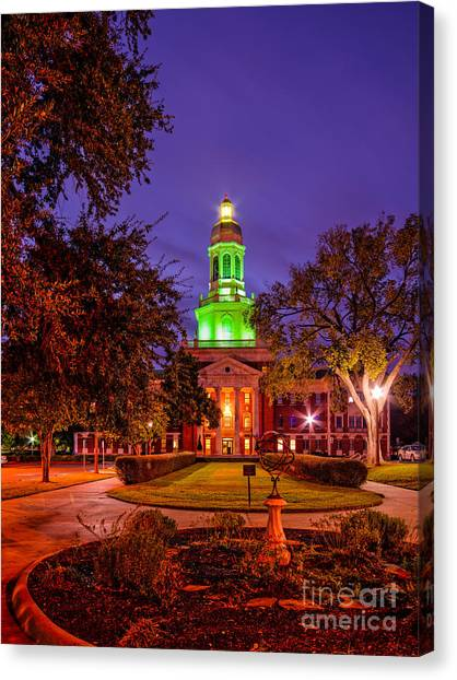 Baylor University Canvas Print - Morning Twilight Shot Of Pat Neff Hall At Baylor University - Waco Central Texas by Silvio Ligutti
