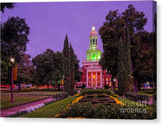 Texas Christian University Canvas Print - Morning Twilight Shot Of Pat Neff Hall From Founders Mall At Baylor University - Waco Central Texas by Silvio Ligutti