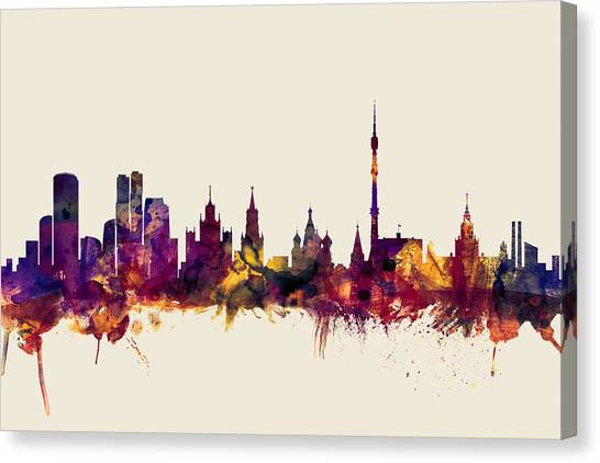 Moscow Skyline Canvas Print - Moscow Russia Skyline by Michael Tompsett