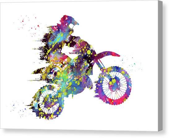 Dirt Bikes Canvas Print - Motocross Dirt Bike X by Erzebet S