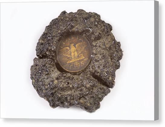 Mount Etna Canvas Print - Mount Etna Souvenir Coin In Lava by Ted Kinsman