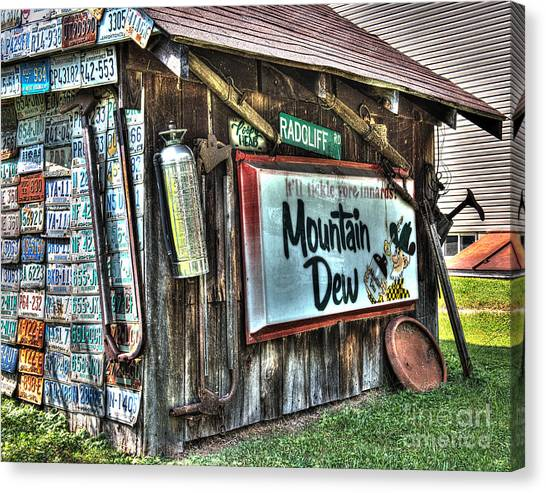 Mountain Dew Canvas Print - Mountain Dew Sign Country Shed by Greg Hager