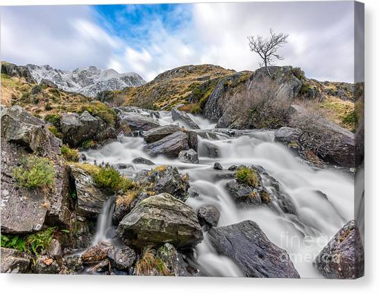Ogwen Valley Canvas Print - Mountain River by Adrian Evans