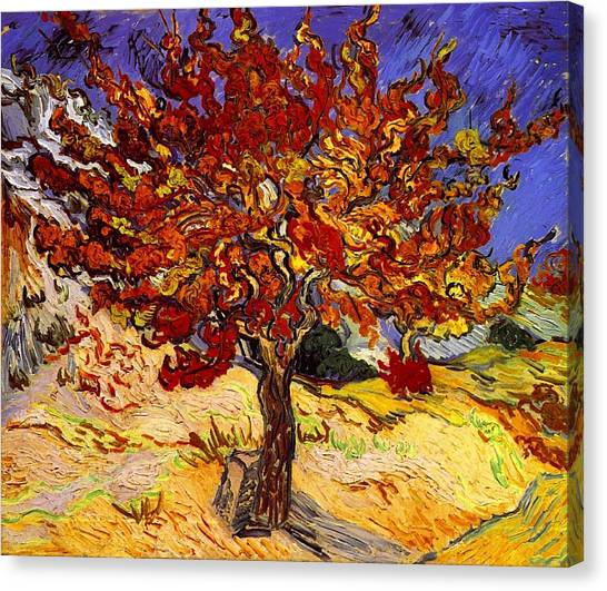 Canvas Print featuring the painting Mulberry Tree by Van Gogh
