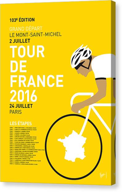Tour De France Canvas Print - My Tour De France Minimal Poster 2016 by Chungkong Art