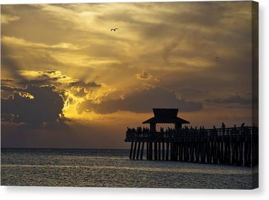 Naples Pier At Sunset Canvas Print