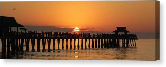 Naples Pier At Sunset Canvas Print