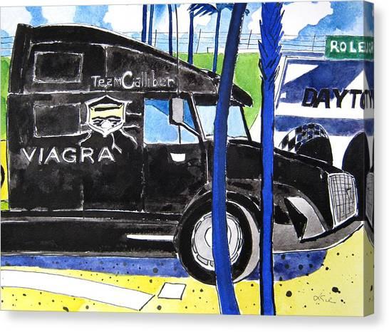 Daytona 500 Canvas Print - Nascar Viagra by Lesley Giles