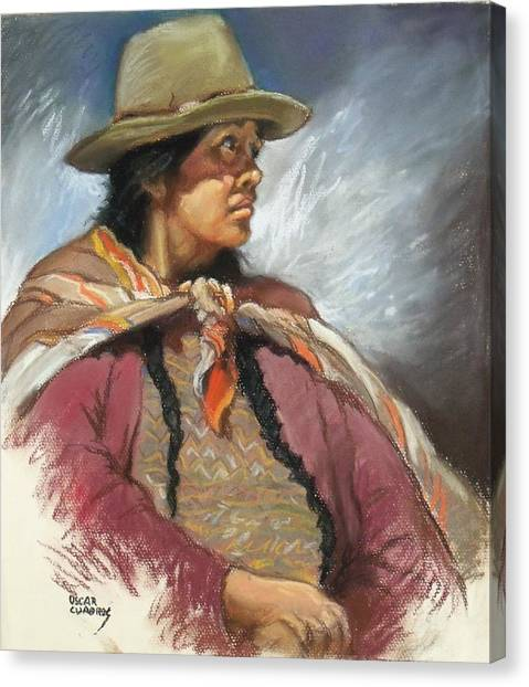 Native Peruvian Woman Canvas Print by Oscar Cuadros