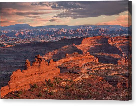 Needles Sunset From White Crack Canvas Print