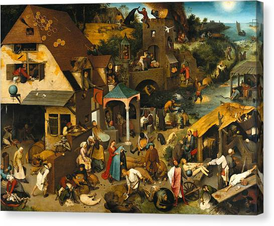 Baroque Art Canvas Print - Netherlandish Proverbs by Pieter Bruegel the Elder