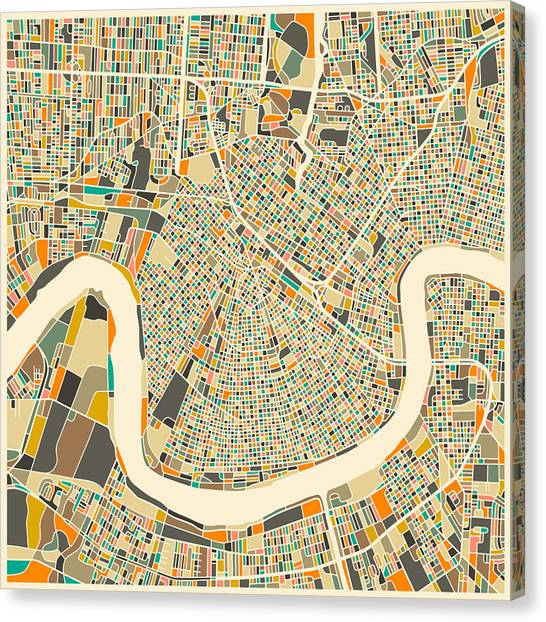 Canadian Artists Canvas Print - New Orleans Map by Jazzberry Blue