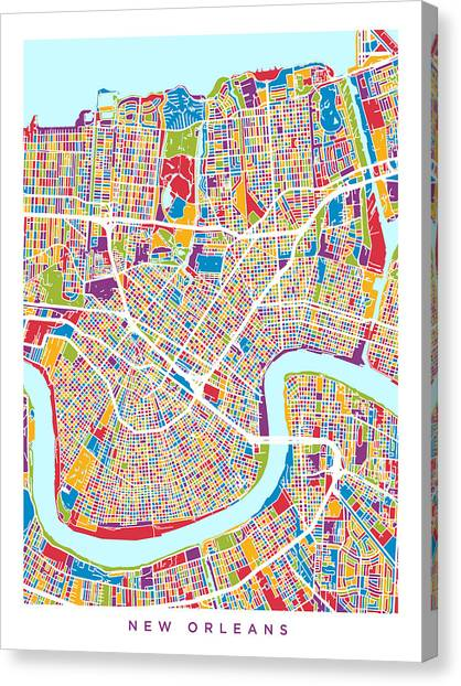 Mardi Gras Canvas Print - New Orleans Street Map by Michael Tompsett