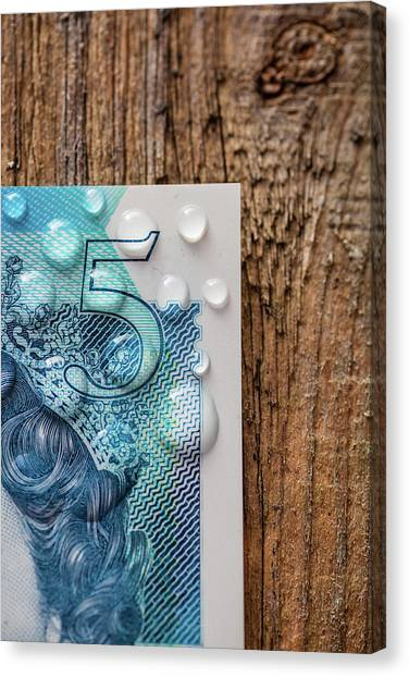 Money Canvas Print - New Uk Five Pound Note by Samuel Whitton