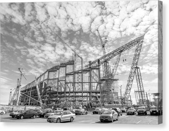 Minnesota Vikings Canvas Print - U S Bank Stadium Under Construction by Jim Hughes