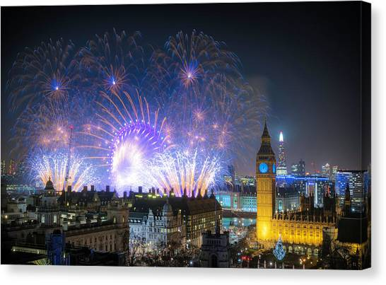 New Year Fireworks Canvas Print