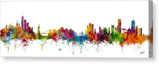 Boston Canvas Print - New York And Boston Skyline Mashup by Michael Tompsett
