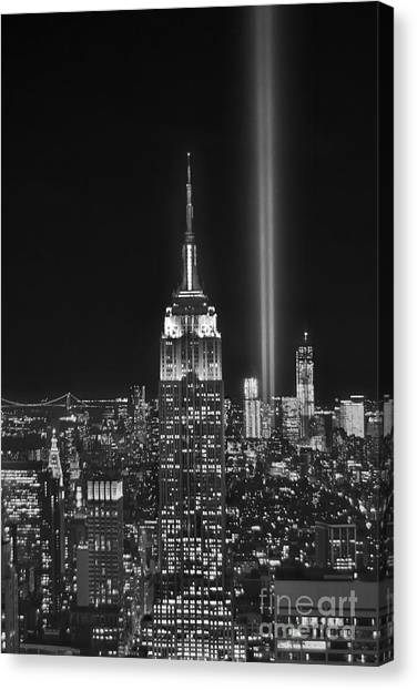 Empire State Building Canvas Print - New York City Tribute In Lights Empire State Building Manhattan At Night Nyc by Jon Holiday