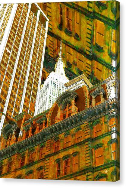 Pre-modern Art Canvas Print - New York City Up Is Down Down Is Up Gold by Tony Rubino
