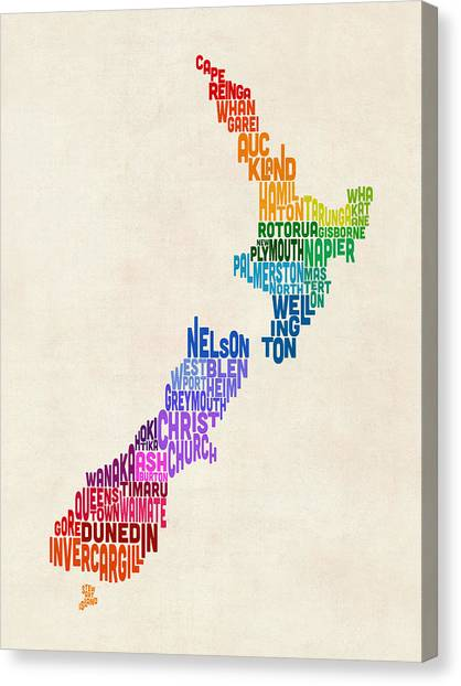 Kiwis Canvas Print - New Zealand Typography Text Map by Michael Tompsett