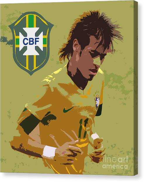 Lionel Messi Canvas Print - Neymar Art Deco by Lee Dos Santos