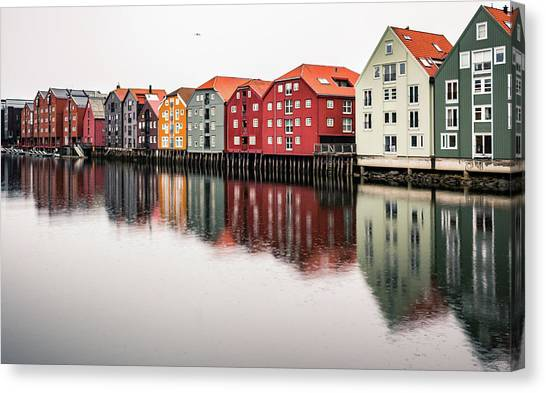 Nidelva Bryggen Trondheim Norway Canvas Print