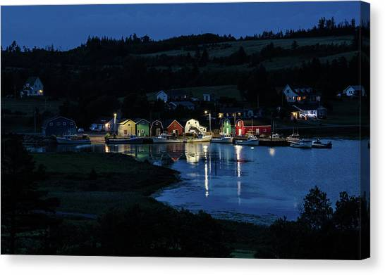 Canvas Print featuring the photograph Night At French River Harbour, Pei by Rob Huntley