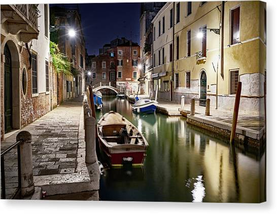 Night Canal Canvas Print