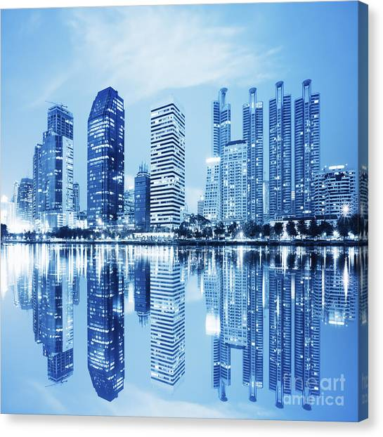 Modern Architecture Canvas Print - Night Scenes Of City by Setsiri Silapasuwanchai