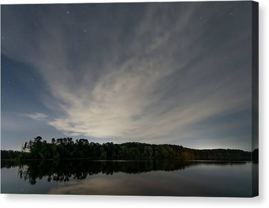 Night Sky Over The Lake Canvas Print