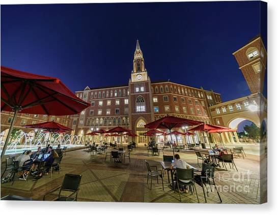 University Of Southern California Usc Canvas Print - Night View Of The Beautiful Mccarthy Honors Residential College  by Chon Kit Leong