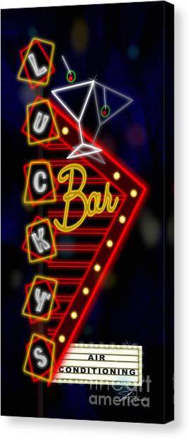 Nightclub Sign Luckys Bar Canvas Print