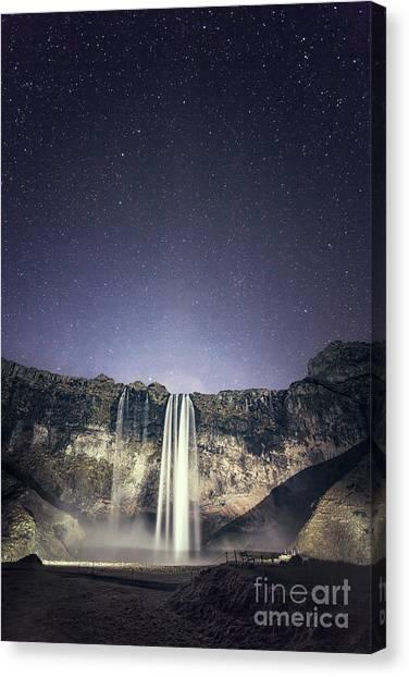 Seljalandsfoss Canvas Print - Nightfall by Evelina Kremsdorf