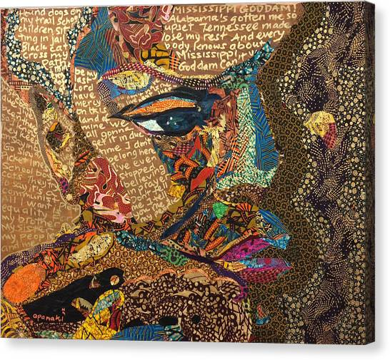 Nina Simone Fragmented- Mississippi Goddamn Canvas Print
