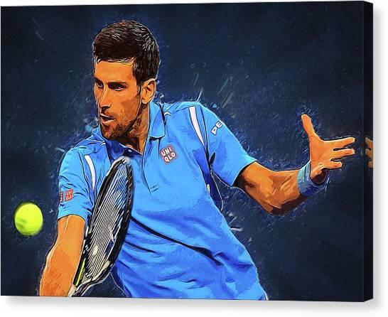Serena Williams Canvas Print - Novak Djokovic by Semih Yurdabak