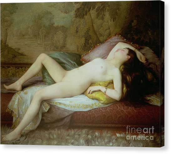 Nudes Canvas Print - Nude Lying On A Chaise Longue by Gustave-Henri-Eugene Delhumeau