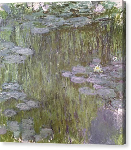 Weeping Willows Canvas Print - Nympheas At Giverny by Claude Monet