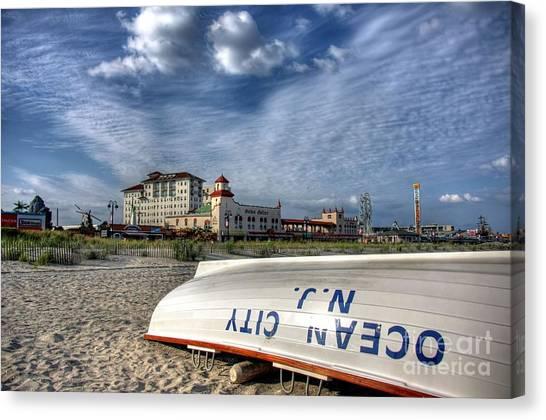 Beach Resort Vacation Canvas Print - Ocean City Lifeboat by John Loreaux