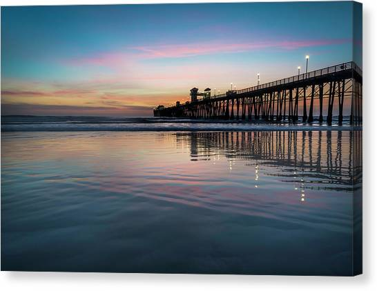 Beach Cliffs Canvas Print - Oceanside Pier Sunset by Larry Marshall