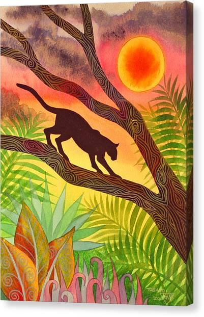 Jungles Canvas Print - Ocelot At Sunset by Jennifer Baird