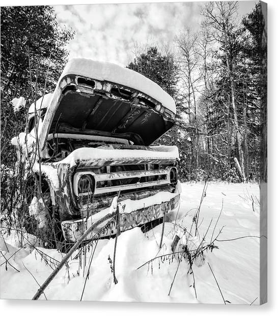 White Canvas Print - Old Abandoned Pickup Truck In The Snow by Edward Fielding