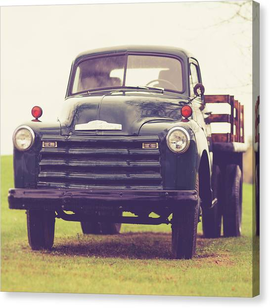 Harvest Canvas Print - Old Chevy Farm Truck In Vermont Square by Edward Fielding