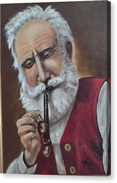 Old German With Pipe Canvas Print