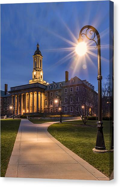 Pennsylvania State University Canvas Print - Old Main At Dusk by Rusty Glessner