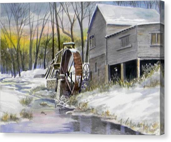 Old Mill In Winter  Sold Canvas Print