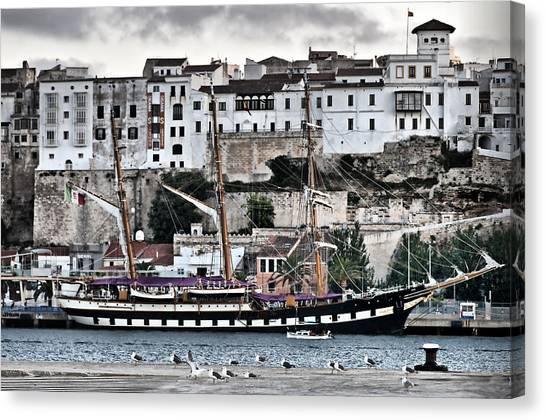Old Port Mahon And Italian Sail Training Vessel Palinuro Hdr Canvas Print