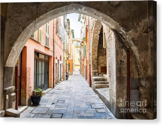 Vault Canvas Print - Old Street In Villefranche-sur-mer by Elena Elisseeva