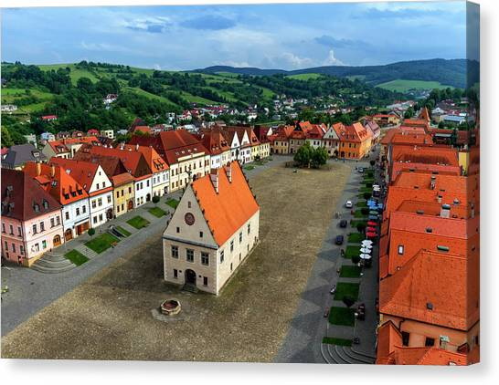 Old Town Square In Bardejov, Slovakia Canvas Print