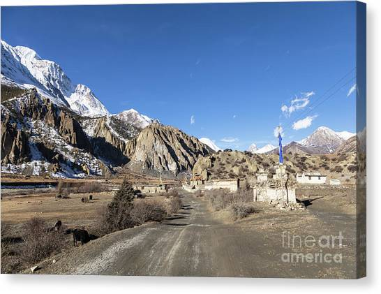On The Annapurna Circuit Trekking Near Manang In Nepal Canvas Print